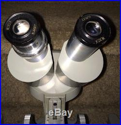 3 VTG Olympus Elgeet Greenough-style Dual Objectives 2x, 4x Stereo Microscope