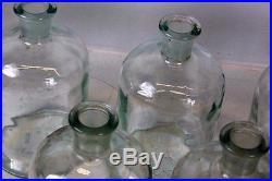 7 Antique Aqua GlassMedicineApothecaryChemistVintage PharmacyPoison Bottles
