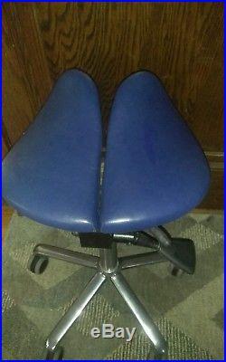 A SALLI Ergonomic Divided Leather Salli Saddle Stool Chair Finland vintage
