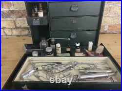 Antique Doctors Case with Medical Equipment and Medicine Bottles, c early 1900's