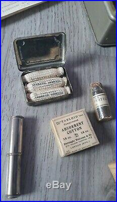 Antique/vintage first aid kit COMPLETE items medical equipment TABLOID! RARE