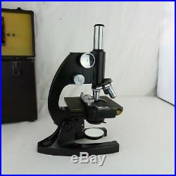 BAUSCH & LOMB VINTAGE LAB MICROSCOPE 1940s VM349 MINT CONDITION! With Case