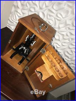 Bausch & Lomb Binocular Microscope & Wood Case, Vintage