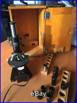 Carl Zeiss Jena 213442 Binocular Microscope & Oben Wood Case, Vintage