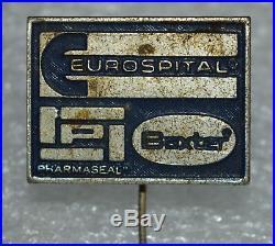 Eurospital Pharmaseal Baxter pharmaceutical Medical equipment vtg pin badge rare