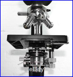 Leitz Wetzlar vintage Laborlux III Binocular Microscope with Quadruple Turret