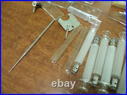 Lot of Vintage Medical Hypodermic Glass Syringes Reusable Needles & Other Equip