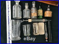 Mahogany scientific/medical test tube and bottle holder / equipment. VINTAGE