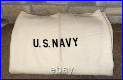 Old Vintage U. S. Navy USN White Medical Blanket or Equipment Cover Wool 84x72
