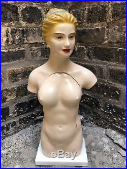 Rare Vintage Human Torso Anatomical Model Anatomy Woman Hand Painted Wood