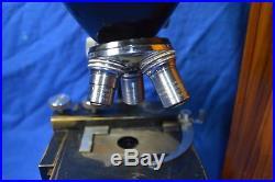 VINTAGE- BAUSCH & LOMB BINOCULAR MICROSCOPE with Wood Case