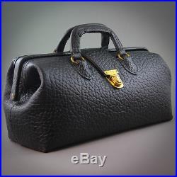 Vintage Eli Lilly Medical Doctor's Mens Black Leather Travel Bag Equipment Tools