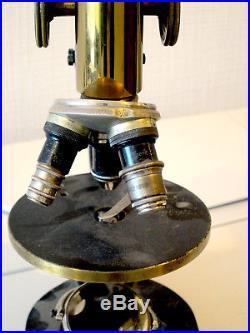 VINTAGE OPTICAL ANTIQUE BRASS MICROSCOPE REICHERT as shown OPTICS #LOBBY