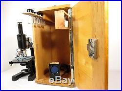 VTG Antique OPTIKON WETZLAR 4359 LEITZ MICROSCOPE 4 KOHLER OBJECTIVES Wood Case