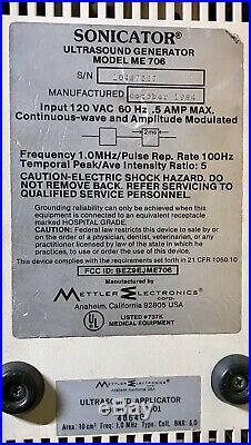 Vintage 1984 Mettler Electronics SONICATOR ME 706 Ultrasound Generator Works