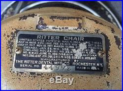 Vintage 30's Hydraulic Ritter Dental Chair Base Good Working Condition Heavy