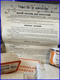 Vintage Agricultural first aid Metal Box With Kit vintage medical tins bundle