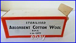 Vintage B. P. C Medical First Aid Sterilised Absorbent Cotton Wool New old Stock