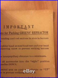 Vintage Bausch & Lomb Greens Refractor Phoropter Eye Exam Rotary Prisms
