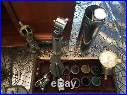 Vintage Bausch & Lomb Microscope, Assorted Medical Equipment Tools, Doctor's Bag