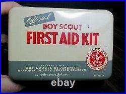 Vintage Boy Scout First Aid Kit Nos 50's Metal Complete Inside Medical Original