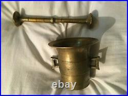 Vintage Brass Mortar & Pestle Pharmacy Drug Store Medical Equipment 4 3/8 T