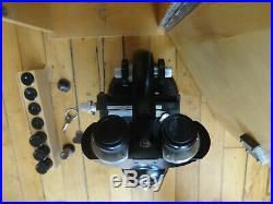 Vintage Carl Zeiss Binocular Microscope 4x Objective Ziess Lenses + Box & Key