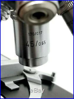 Vintage Carl Zeiss ERNST LEITZ WETZLAR Binocular 4 Objectives Microscope A+++