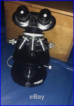 Vintage Carl Zeiss WL Compound Binocular Microscope 3 Ziess Winkel Lenses + box