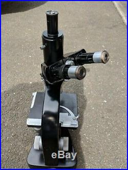 Vintage Ernst Leitz Wetzlar Microscope With 4 Objectives Germany