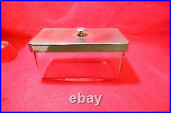 Vintage Glass & Chrome Henry W Bush London Medical Dressing or Equipment Jar