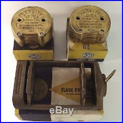 Vintage Hanau Brass Dental Flask Ejector Press Upper Lower Original Boxes Tools