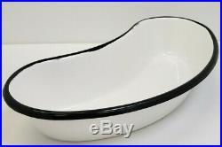 Vintage Heavy Porcelain Enamel Kidney Shaped Pan Emesis Basin Medical Equipment