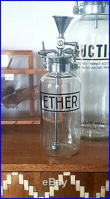 Vintage LARGE J. Sklar glass ETHER bottle antique medical equipment industrial