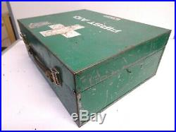 Vintage Large 1980s First Aid Box/Case Metal Green Clayton Medical Equipment