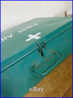 Vintage Large Green Metal First Aid Box With Contents 35cm by 25cm