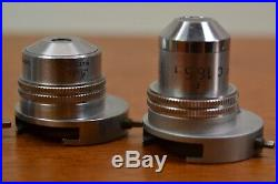 Vintage Lot Leitz Microscope Objective Parts Stage Clips Eye Piece Wood Box