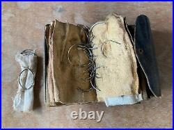 Vintage Medical Equipment 100 Suture Needles in Leather Sleeve w suede pages