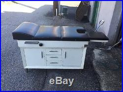 Vintage Medical Examination Table With Stirrups And Storage Cabinets Drawers