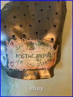 Vintage Metal Metacarpal Brace Antique Medical Equipment Original Sticker