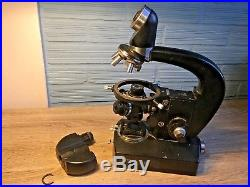 Vintage Microscope Carl Zeiss Jena Ergaval Binocular Laboratory Research