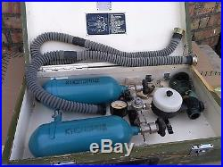 Vintage Military Oxygen Respiratory Systems USSR Army 2 Mask & Dual Tank