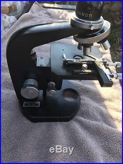 Vintage Nikon Nippon Kogaku Microscope W (4) Objectives Japan