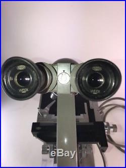 Vintage Olympus KHC Binocular Microscope 4, 10, 40, HI 100 With Case + Extras