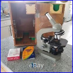 Vintage Olympus Tokyo Microscope K 202573 medicine & biology withcase and slides