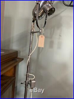 Vintage Original Chrome Bullseye Floor Standing Dentist/Medical/Surgical Lamp