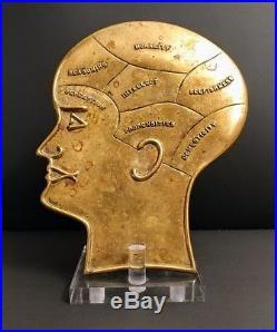 Vintage Surreal Medical Brass Phrenology Model Brain Medicine