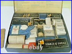 Vintage WWII 1940s First Aid Equipment for Householders tin box & all contents